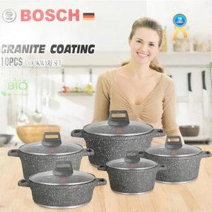 სქელკედლიანი გრანიტის ქვაბების და ტაფაქვაბის ნაკრები Bosch 10PCS Grey
